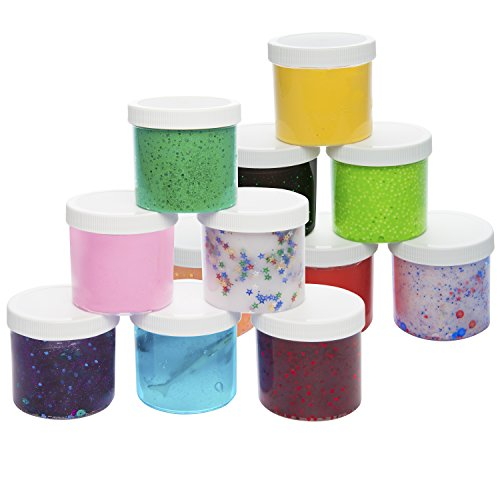 Slime Storage Jars 12oz (12 Pack) - Clear Containers For All Your Glue Putty Making