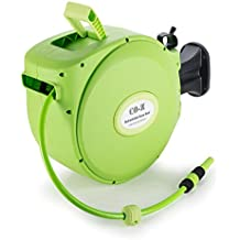 CO-Z Retractable & Auto Rewind Hose Reel 65 Feet by 1/2 Inch for Garden Watering, 300psi, Lightweight