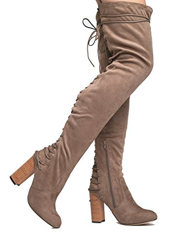 J. Adams Gorgeous Lace up Over The Knee Boot - Vegan Suede Thigh High - Trendy High Heel Shoe - Koko by Taupe Suede w9kNFuea9