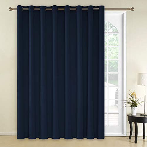 Deconovo Solid Color Thermal Insulated Wide Width Curtains Blackout Curtains Grommet Room Darkening Curtains for Bedroom 100 x 95 Inch Navy Blue 1 Panel ()