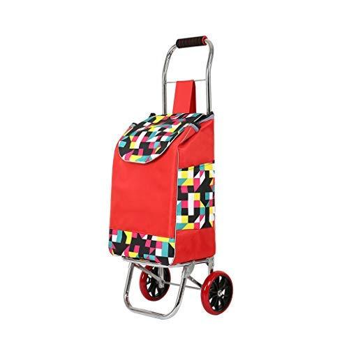 台所買物車、小さいカートの折る手のカートのトロリートレーラーのトロリー車の荷物のカートの赤 B07SDQ6W22