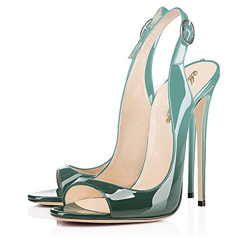 Décolleté In Similpelle Di Pelle Moderna, Peep Toe Heels, Sandali A Fasce, Scarpe Da Sera, Stiletti Smeraldi