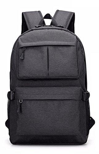 LOUHH USB-Lade-Doppel-Schulter-Laptop-Tasche Im Freien Sport Große Kapazität Tasche Student Tasche,Black Black