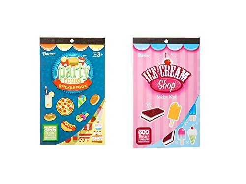 Two (2) Books of FOOD FUN Mini STICKERS - PARTY Foods & ICE CREAM Treats (906 total stickers) PIZZA Hot Dogs DONUTS Kid's ACTIVITY/Craft