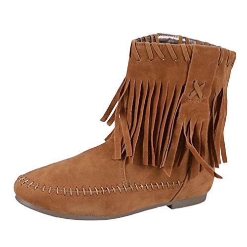 plates en Tassel 1 mollet mi Shoes Bottes Anguang Femmes daim camel 16nqTT8