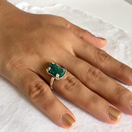 Genuine Colombian Emerald - Raw Emerald Ring by D'Mundo Accesorios. 16mm x 8/9mm Genuine Raw Colombian Emerald with Calcite, Pyrite and Quartz. 925 Sterling Silver Adjustable Ring.