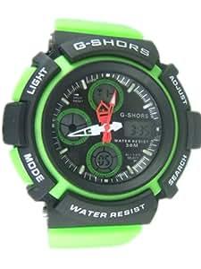 50m Water-proof Digital-analog Boys Girls Sport Digital Watch with Alarm Stopwatch Chronograph 9071-Green