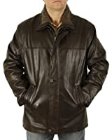 Mens Brown Hide 3/4 Leather Coat with Zip Out Collar