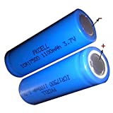 3.7V 1100mah ICR17500(Size A) Li-Ion Rechargeable Batteries with Flat Top (2pc)