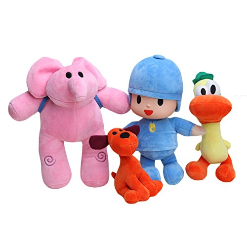 NEW Bandai Set Of 4pcs Pocoyo Elly Pato Loula Soft Plush Stuffed Figure Toy Doll (Doll Figure Plush)