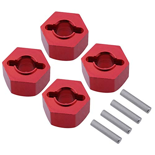 (Hobbypark Aluminum 12mm Hex Wheel Hubs Nuts w/Pins Replacement of 1654 for RC Traxxas 1/10 Slash 4x4 & Stampede 4WD (4-Pack) (Red))