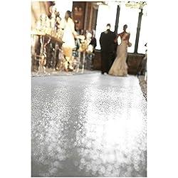 ShinyBeauty Silver-Aisle Runner-50FTX4FT,Glitter Sequin Wedding Aisles Floor Runner,Sparkle Carpet Runner