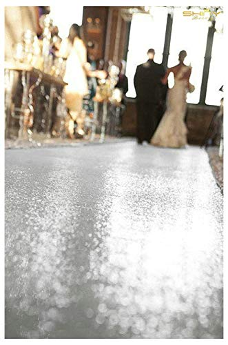 ShinyBeauty Silver-Aisle Runner-50FTX4FT,Glitter Sequin Wedding Aisles Floor Runner,Sparkle Carpet Runner