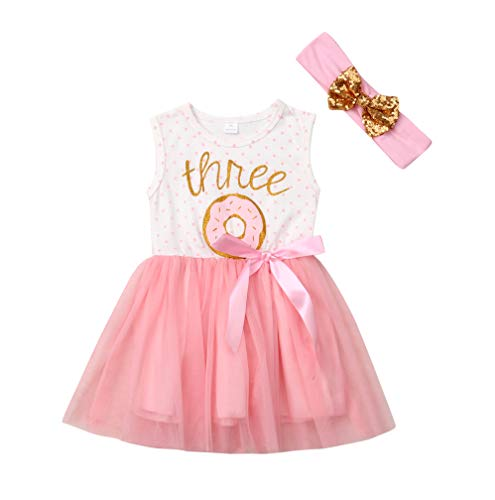 2Pcs Baby Girls Tutu Dress 1st Birthday Outfit Donut Letter Print Top Tulle Tutu Skirt with Headband Outfit Set (2-3T, Three Sleeveless)]()