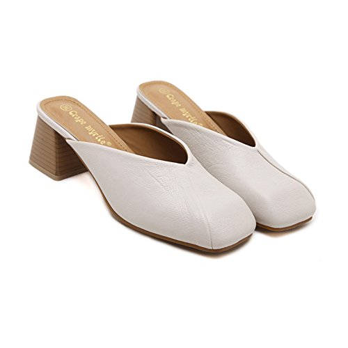 Leather Beige Heels Sandals Womens Micro toe H Mid Loafers Square amp;W Chunky qt7gwS