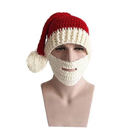 MorySong Warm Knitted Christmas Costume Hat Santa Claus Cap with Wind Mask (Red+White) (Santa Claus Cap)
