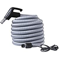 OVO ACCHO-40HV-BK-OVO Universal Central Vacuum Hose Dual-Voltage 40ft Long - Crushproof Tube - Fits All Inlets - Black & Grey