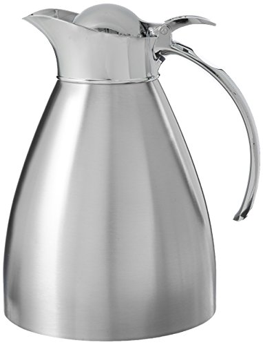 Service Ideas 98110BS Stainless Lined Vacuum Insulated Carafe with Stopper Lid, 1 Liter (33.8 oz.), Brushed Stainless/Mirrored Accents by Service Ideas