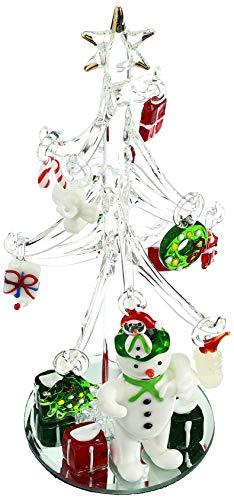 LS Arts, Inc. Mini Crystal Christmas Tree with Snowman and 15 Hand Blown Ornaments Art Glass Christmas Tree Ornament