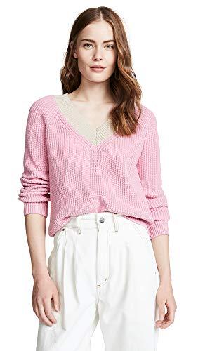 525 America Cotton Sweater - 525 America Women's Cotton Shaker Colorblock Sweater, Seashell Pink Multi, Large