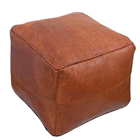 Baba Souk Moroccan Square Leather Pouf - Tan