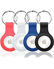 4 Pack Waterproof AirTag Holder,Protective Case for Airtags, Anti-Scratch Silicone Case Cover Tracker Holder Compatible with Apple Airtag, Keychain Accessories for Air Tag (2021)