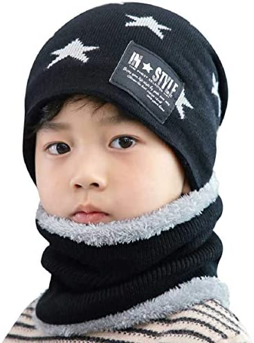 Voqeen Kids//Childrens Winter Warm Knitted Beanie Hat and Circle Scarf Set with Thick Soft Fleece Lining