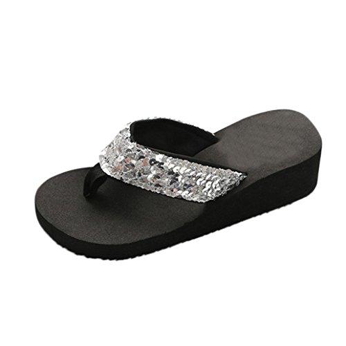 Inverlee Women's Summer Sequins Anti-Slip Sandals Slipper Indoor & Outdoor Flip-Flops (7.5(US), ()