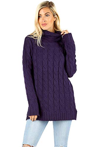 Sweater Cashmere Cable (Sweaters for Women Turtle Cowl Neck Ribbed Cable Long Sleeve Acrylic Knit Jumper-Dark Purple (Small))