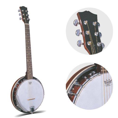 Jameson Guitars 6 STRING BANJO 6 String Banjo Guitar with Closed Back Resonator and 24 Brackets, Brown