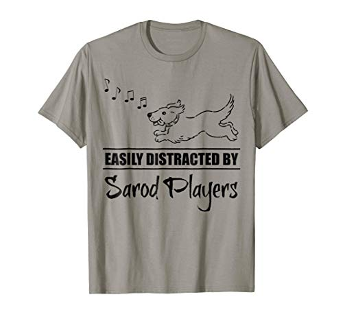 Running Dog Easily Distracted by Sarod Players Music Notes T-Shirt