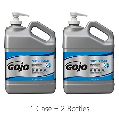 GOJO SUPRO MAX Hand Cleaner, 1 Gallon Heavy-Duty Hand Cleaner with Scrubbers Pump Bottles (Pack of 2) – 0979-02 ()