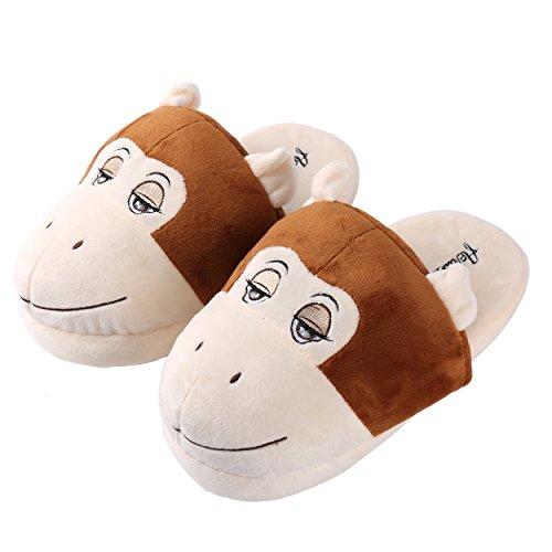 Aerusi Unisex Volwassenen Pluche Medium Universele Pasvorm Dieren Pantoffels Aap