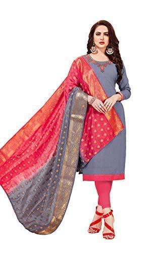 355022abf3 Blissta Women's Grey Slub Cotton Handwork Salwar Suit Material With Banarasi  Dupatta: Amazon.in: Clothing & Accessories