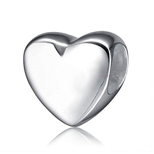 Sterling Silver Bead European Heart (Ollia Jewelry 925 Sterling Silver European Style Beads Glossy Shiny Heart Charm Hold Me Firmly Charm Steadfast Love Charms)