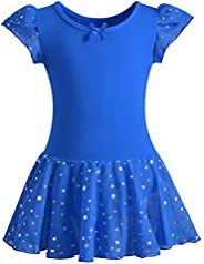 DANSHOW Girls Glitter Leotards for Ballet Dance Dress with Tutu Skirt Petal Sleeve