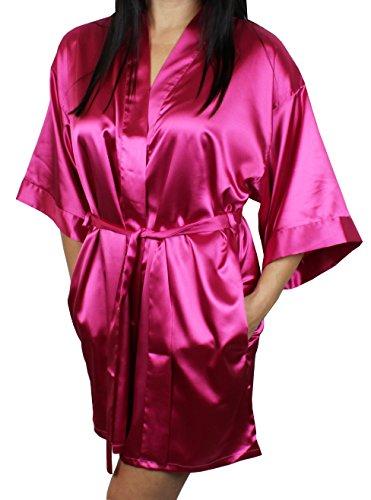 (Women's Satin Kimono Bridesmaid Short Silky Robe with Pockets - Dark Pink XS/S )