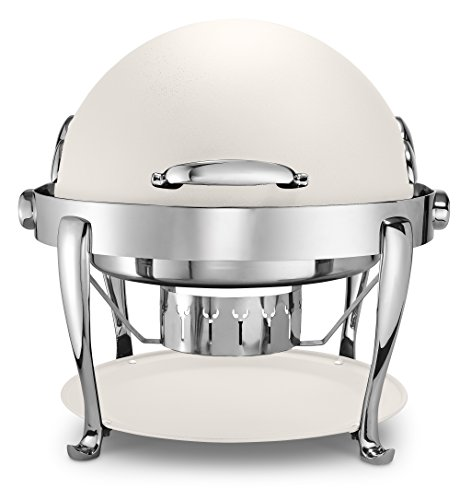 Chrome Round Chafer - Bon Chef 19000CH-Bianco Round Chafer with Roman Legs, Chrome Trim and Bianco Finish, White