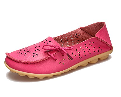 Womens Dear Dear Red Casual Queen Queen Rose Leather Womens Loafer Shoes f4qxdfwOp