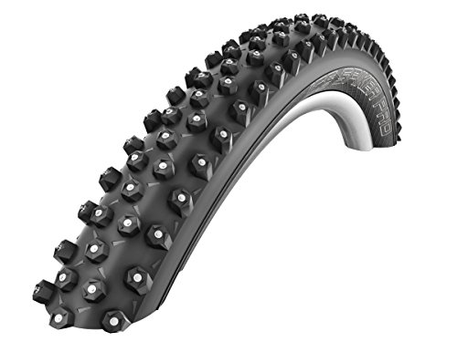 SCHWALBE Ice Spiker Pro 67TPI 35-55PSI Folding Winte Tubeless Ready Snakeskin Bike Tires, 26x2.35, Black