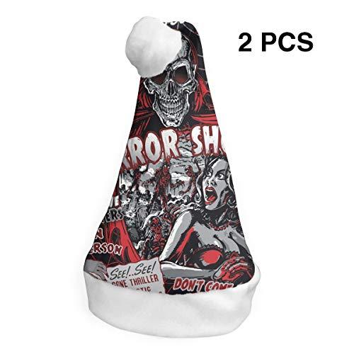 YISHOW Horror Movie Skull Spook Show Classic Handmade Soft Christmas Hat and Santa Hats (2pcs) ()