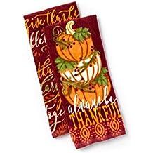 Autumn Kitchen Towel Set Fall Pumpkin Stack and Grateful Words 2 Pack