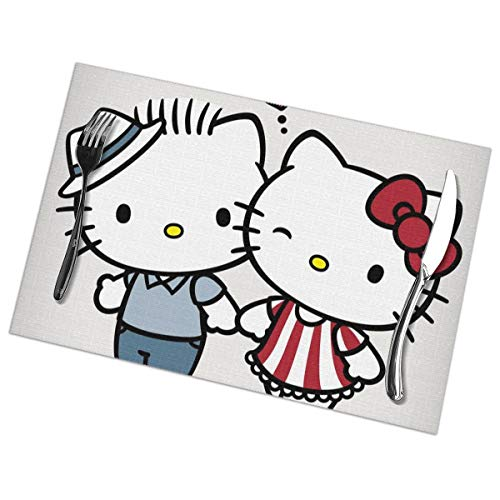 LIUYAN Placemats Couple Hello Kitty Placemat Washable Table Mats Set of 6 for Dining Table