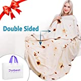 Jorbest Burritos Tortilla Blanket 2.0 Double Sided for Adult and Kids, Comfort Throw Blanket, Novelty Round Food Blanket for Everyone - Diameter 60 inches, Yellow Blanket-a