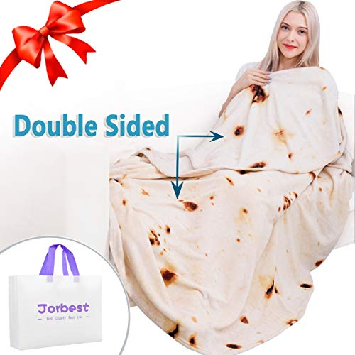Neat Halloween Food Ideas (Jorbest Burritos Tortilla Blanket 2.0 Double Sided for Adult and Kids, Comfort Throw Blanket, Novelty Round Food Blanket for Everyone - Diameter 60 inches, Yellow)