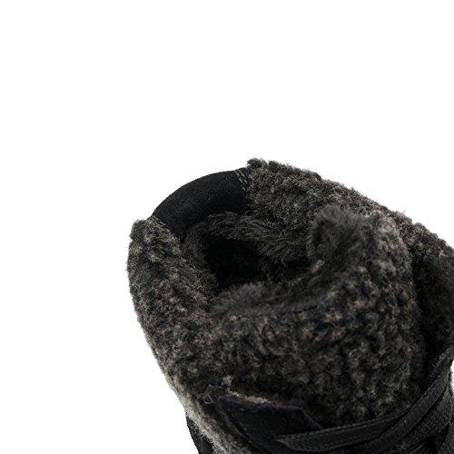 Baskets Montantes À Semelle Compensée U-mac Pour Femme - Semelle Antidérapante En Caoutchouc Talon Caché Bout Rond Plateforme Casual Chaussures Noir