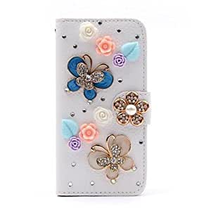 LZX Wallet Style Diamond Butterfly Flip Litchi PU Leather Case with Stand for Samsung Galaxy S4 SIV Mini i9190