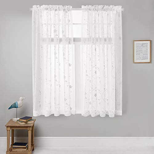 Sheer Curtains White 63 Inch Embroidered Floral, Rod Pocket Voile Drapes for Living room, Bedroom, Window Treatments Semi Crinkle Curtain Panels for Yard, Patio, Villa, Parlor, Set of 2, 52