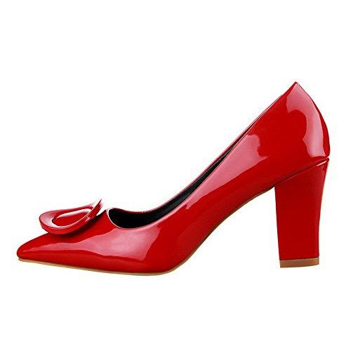 Allhqfashion Femmes En Cuir Verni Solide Talons Hauts Pointu Fermé Orteil Tirer Sur Les Pompes-chaussures Rouge