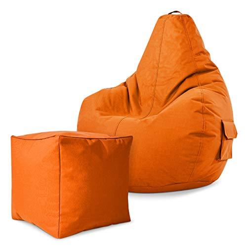 Green Bean Gaming © 2-delige zitzack set – Cozy zitzak met 2 zijzakken + kubuskruk – volledig gevuld – robuust, wasbaar…